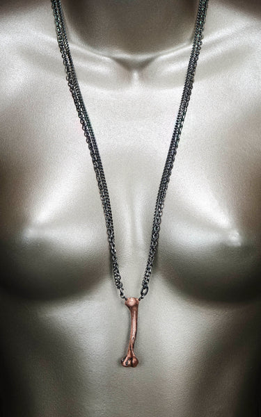 'The Real Legacy' - copper mink femur bone necklace