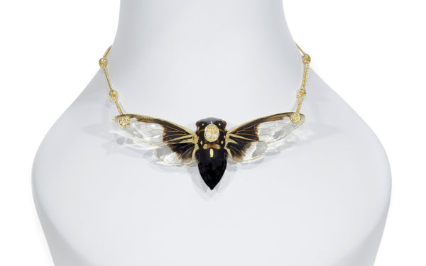 *GENUINE* Large Cicada Necklace with 18K Gold Filled Chain