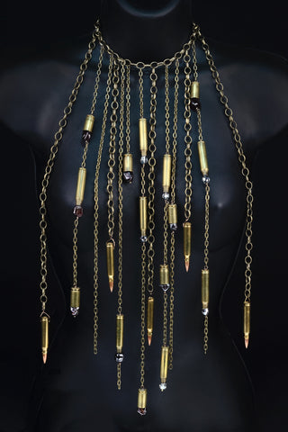 Long Brass Bullet Necklace