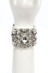 White Lambskin Cuff with Vintage Filigree & Dangling Chain