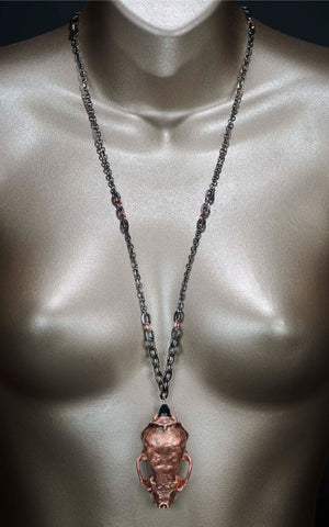 'Mindful' - copper mink skull necklace