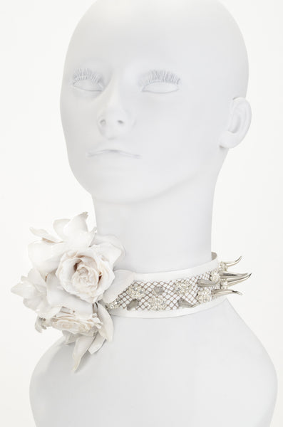 White Rose & Silver Thorn Choker