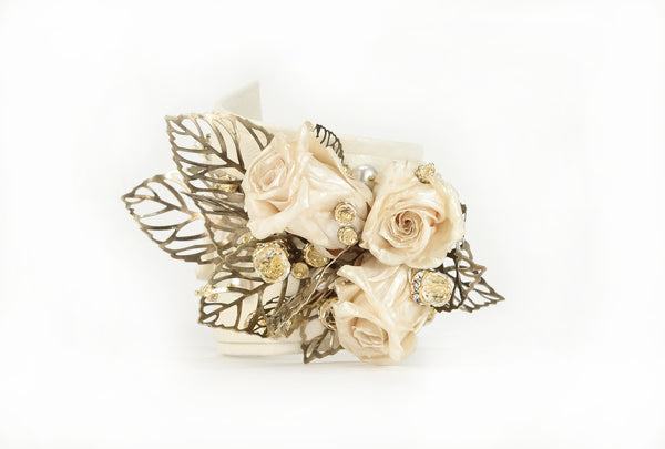 Pearlescent Rose Cuff (with GENUINE Rose blossoms)
