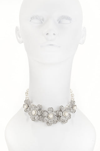 White Rhinestone & Pearl Flower Necklace