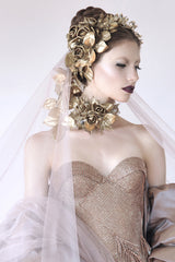 Gold Flowing Flower Headpiece