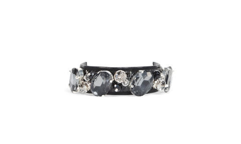 Stackable Bracelet: Crystal, Silver and Black Leather