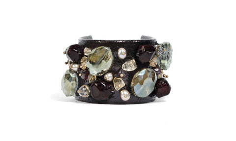 Dark Brown Patent Leather Cuff Bracelet with Garnet & Green Crystals