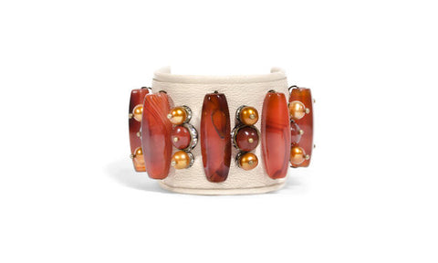 Cream Leather & Carnelian Stone Cuff