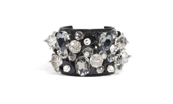 Italian Black Patent Leather & Crystal Cuff
