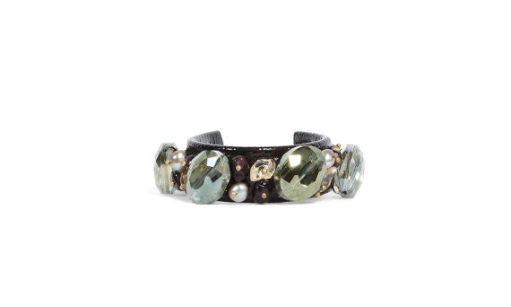 Green Crystal & Garnet Patent Leather Cuff