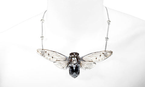 *GENUINE* Large Cicada Necklace with 18K White Gold Filled Chain