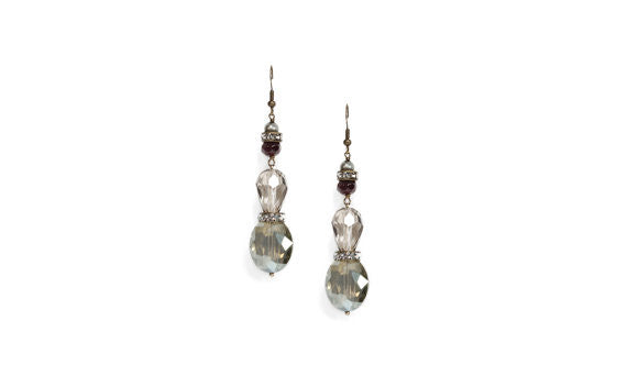 Garnet, Green/Gray Crystal Drop Earrings