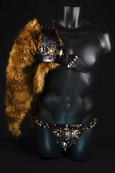 Barbarian Harness & Jockstrap with Fur