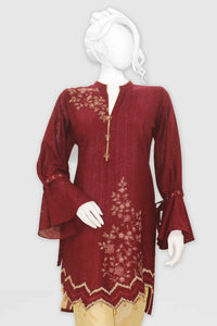 Embroidered Jacquard Shirt with Embellishment 2421