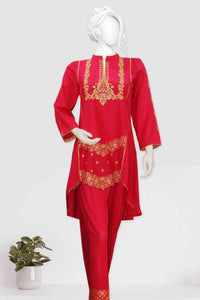 2 Piece Embroidered Cambric Suit 2397