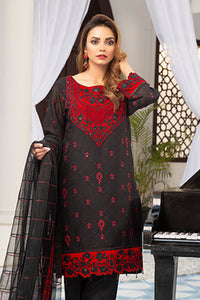 Red and Black Embroidered Suit 2534 (3-piece)