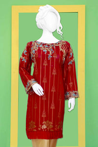 Embroidered Jacquard Shirt with Embellishment 2211