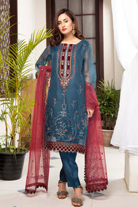 Prussian Blue Organza Embroidered Suit 2540 (3-piece)