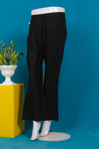 Skin, Black, Mehroon Cambric Embroidered Trouser 636
