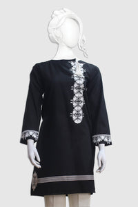 Black Cambric Embroidered Shirt 1018
