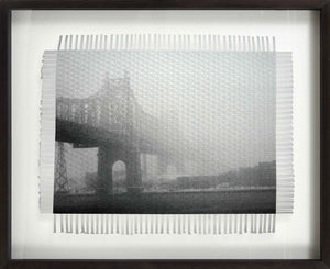 NEW YORK FOGGY BRIDGE - WOVEN PHOTOGRAPH