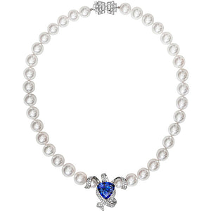 Mayfair South Sea Pearl Necklace with Tanzanite & Diamonds