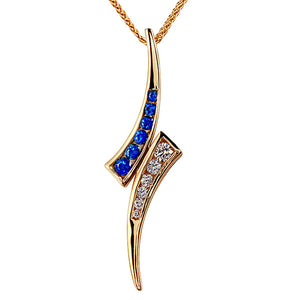 Sapphire and Diamond Spike Pendant