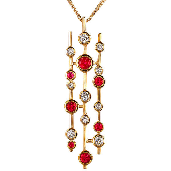 Raindrops Ruby & Diamond Pendant