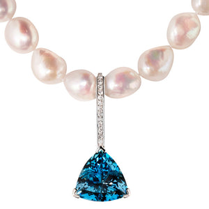 Dorchester Pearl Necklace with Aquamarine & Diamond Enhancer