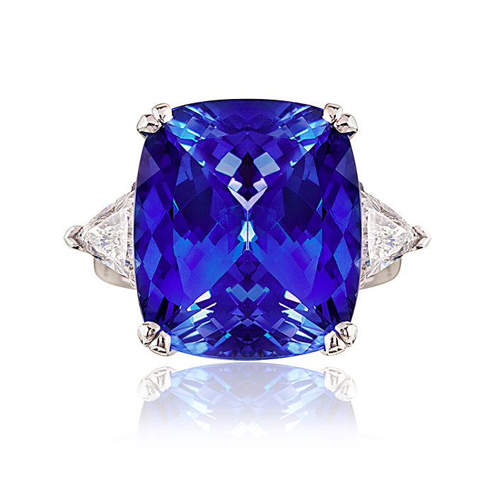 Livingstone Cushion Cut Tanzanite & Diamond Ring