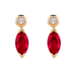 Marquise ruby and diamond earrings