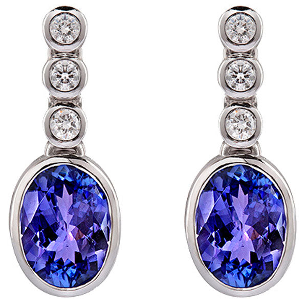 Tanzanite & Diamond Drop Earrings