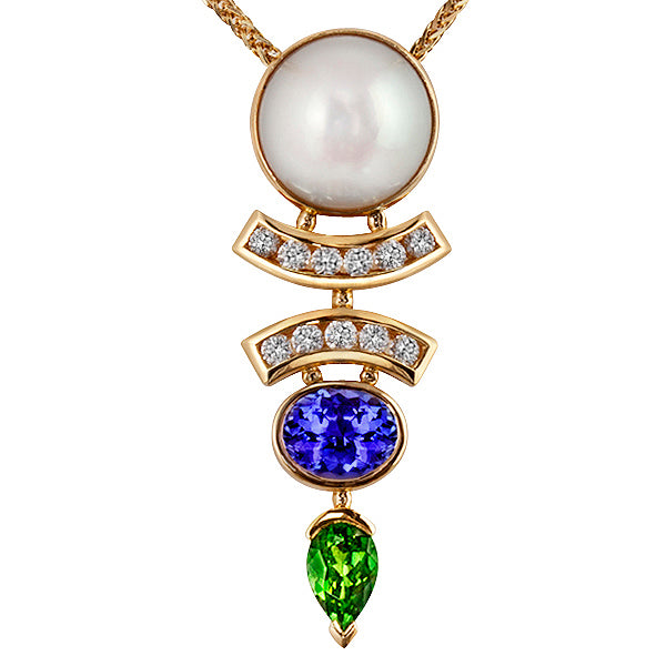 Lucille South Sea Pearl, Tanzanite, Tsavorite & Diamond Pendant