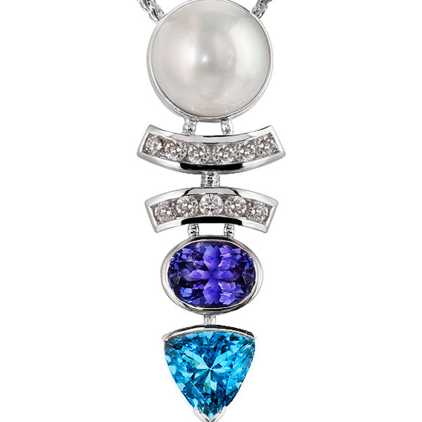 Lucille South Sea Pearl, Tanzanite, Aquamarine & Diamond Pendant