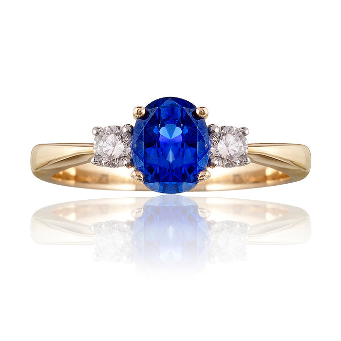 Classic Blue Sapphire and Diamond Trilogy Ring