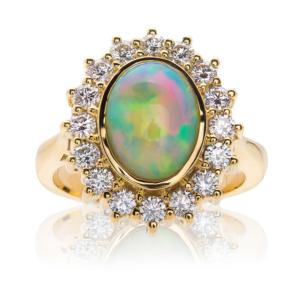 Classic Opal and Diamond Cluster Ring