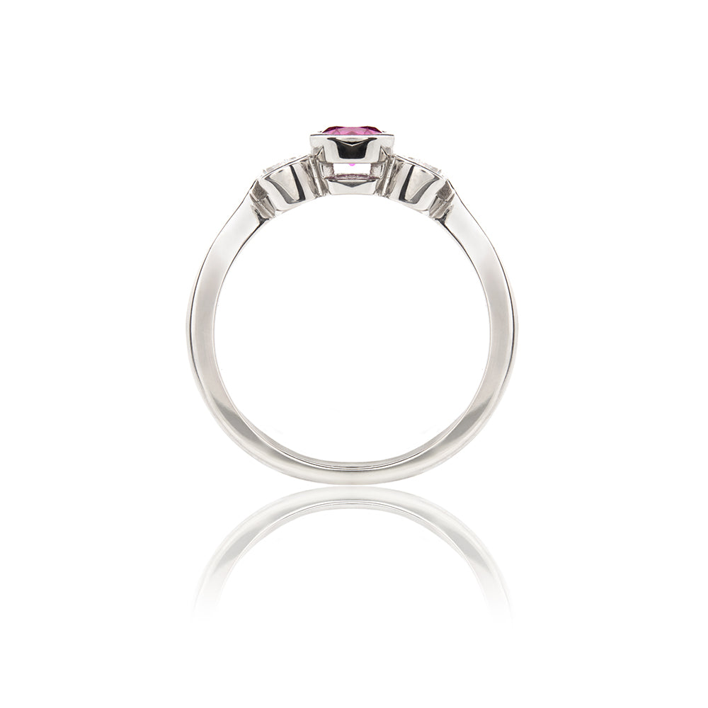 Mayfair Pink Sapphire and Diamond Trilogy Ring