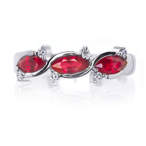 Honour Platinum Marquise Ruby and Diamond Ring