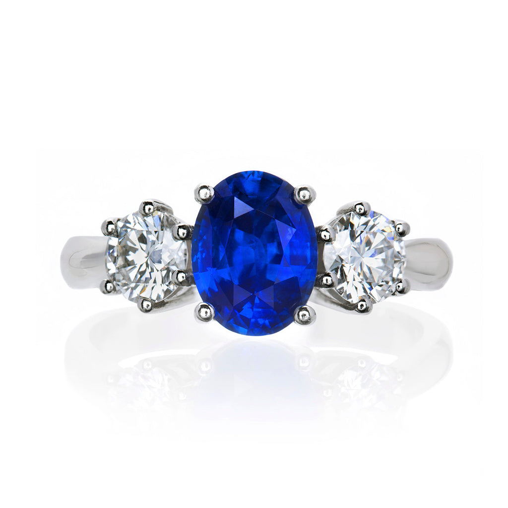 Classic Blue Sapphire and Diamond Platinum Ring