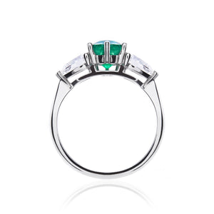 Emerald and Diamond Trilogy Ring