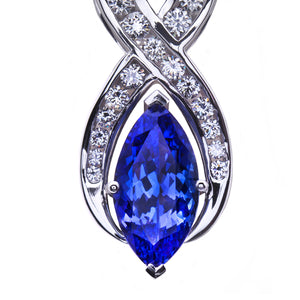 Marquise Tanzanite and Diamond Pendant