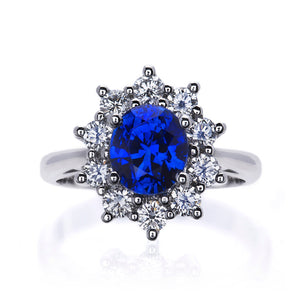 Classic Blue Sapphire and Diamond Cluster Ring