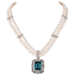 Buckingham Diamond & Pearl Necklace with Aquamarine & Diamond Enhancer