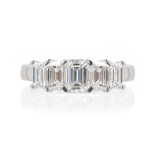 Art Deco Emerald Cut Five Diamond Ring
