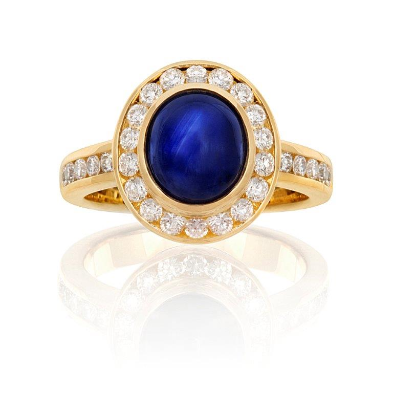 Orient Sapphire and Diamond Ring