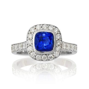 Blue Sapphire and Diamond Heritage Ring