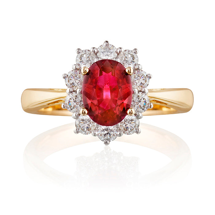 Knighsbridge Ruby & Diamond Cluster Ring