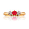 Classic Ruby and Diamond Trilogy Ring