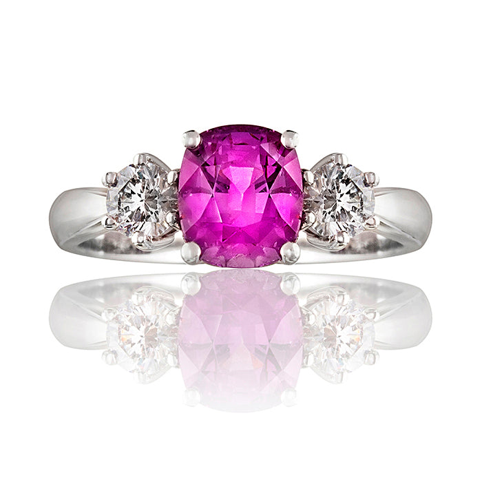 Classic Pink Sapphire and Diamond Trilogy Ring
