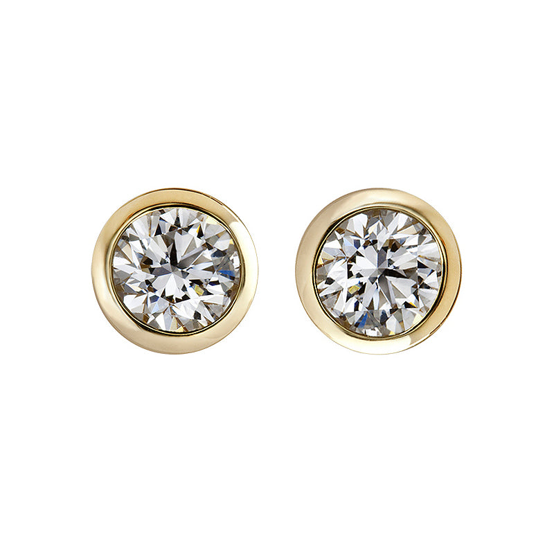 Diamond Bezel Set Stud Earrings